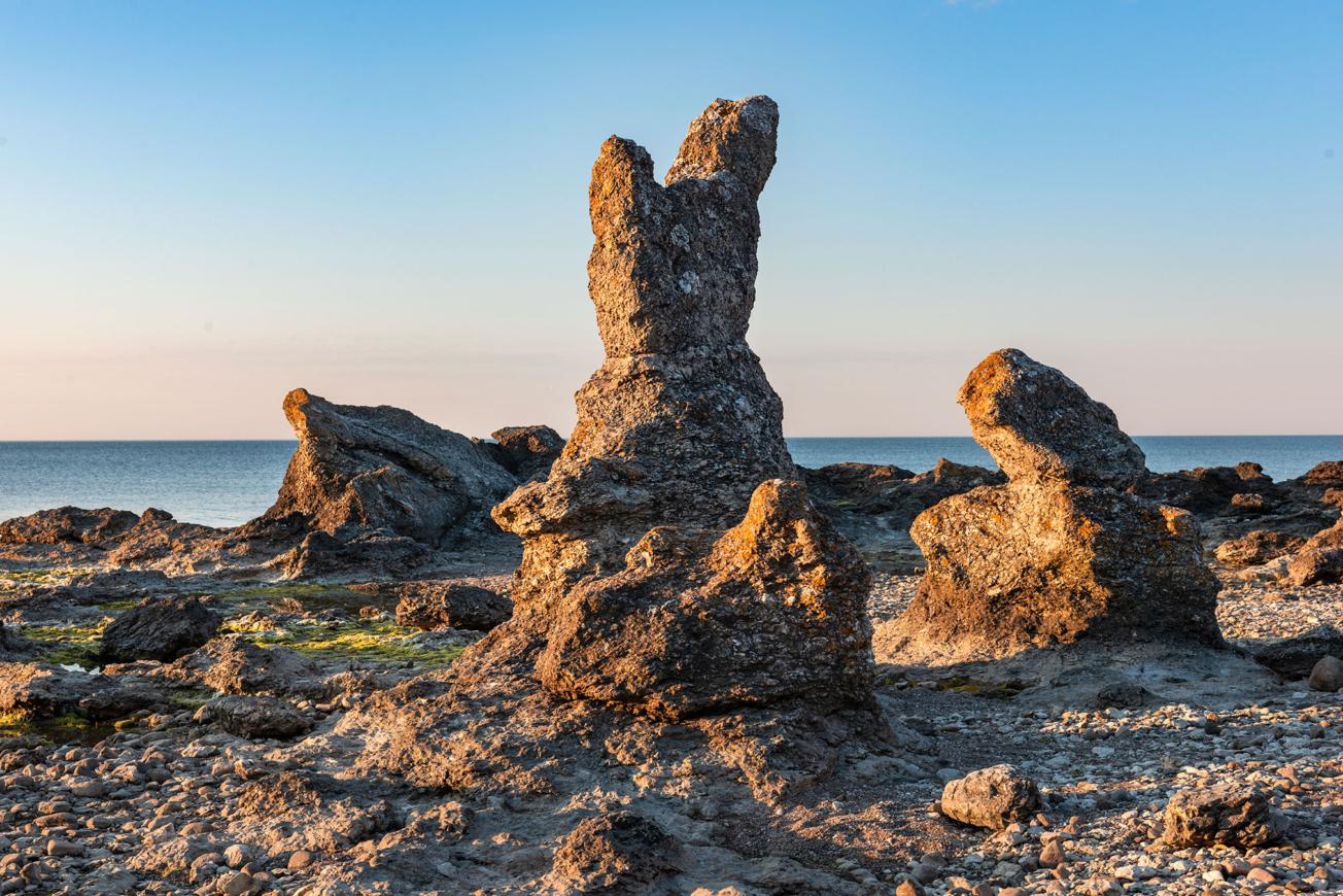 Folhammars raukfält på Gotland